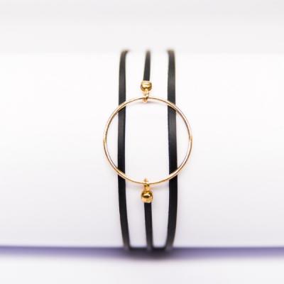 Bracelet anneau et caoutchouc plaqué or