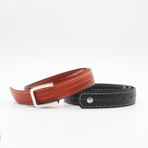 Duo ceinture CAMILLE rouge brique + noire