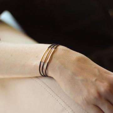 Bracelet trois tubes plaqué or