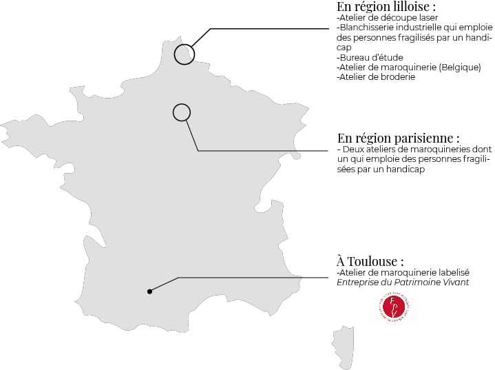 carte des ateliers artisanaux maroquinerie